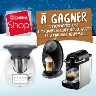 Instant Win! A gagner THERMOMIX TM6 (valeur CHF 1'850.-) 3 NESCAFE DOLCE GUSTO et 3 NESPRESSO + 10'000 Bons de CHF 5.-