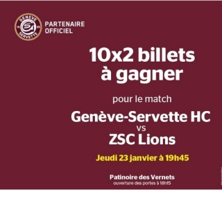 Gagnez 10x2 billets pour le billets des GSHC vs ZSC Lions, jeudi 23 janvier à 19h45 à la patinoire des Vernets